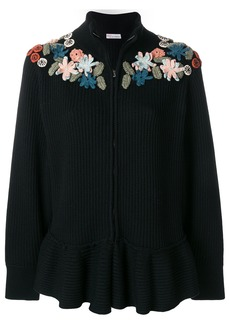 Red Valentino zipped floral jumper - Black