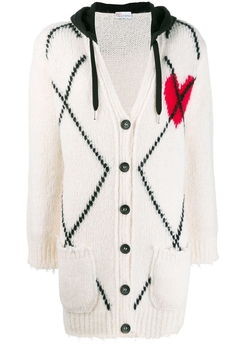 RED Valentino argyle knitted cardigan