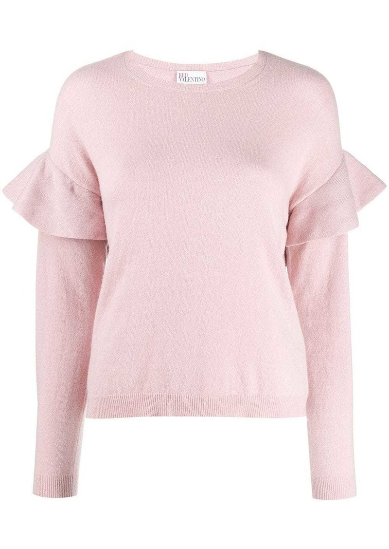 RED Valentino RED(V) frilled crew neck knitted sweater
