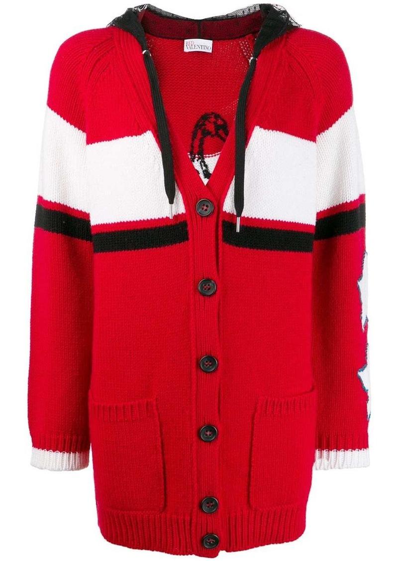 RED Valentino slogan knitted cardigan