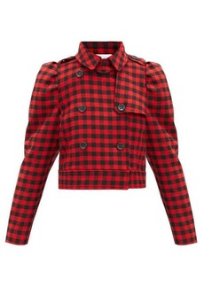 RED Valentino REDValentino Cropped double-breasted houndstooth jacket