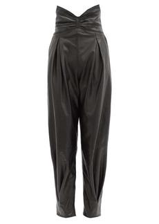 RED Valentino REDValentino Cummerbund-waist pleated leather trousers