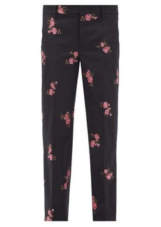 RED Valentino REDValentino Floral-jacquard wool-blend twill trousers