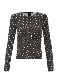 RED Valentino REDValentino Ruched polka-dot crepe top