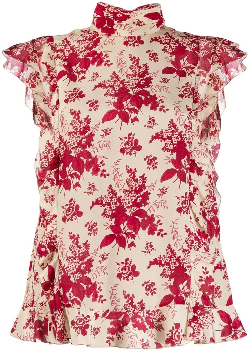 RED Valentino REDValentino ruffle detail floral blouse
