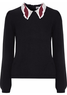 RED Valentino Redvalentino Woman Appliquéd Organza-trimmed Ribbed Wool Sweater Black
