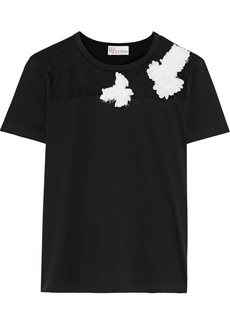 RED Valentino Redvalentino Woman Appliquéd Point D'esprit-paneled Cotton-jersey T-shirt Black