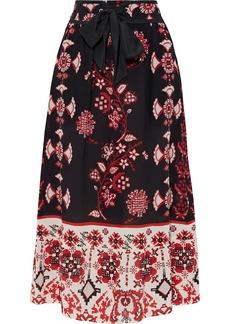 RED Valentino Redvalentino Woman Belted Printed Silk Crepe De Chine Midi Skirt Black
