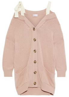 RED Valentino Redvalentino Woman Cold-shoulder Bow-detailed Wool Cardigan Blush