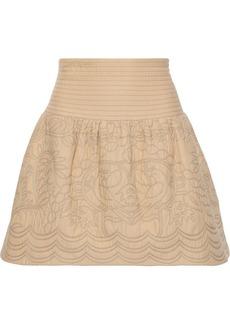 RED Valentino Redvalentino Woman Cotton-matelassé Mini Skirt Sand