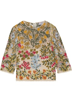 RED Valentino Redvalentino Woman Embroidered Guipure Lace Top Beige