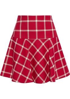 RED Valentino Redvalentino Woman Flared Checked Wool-twill Mini Skirt Crimson