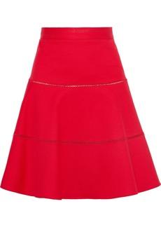 RED Valentino Redvalentino Woman Flared Lattice-trimmed Cotton-blend Ponte Skirt Tomato Red