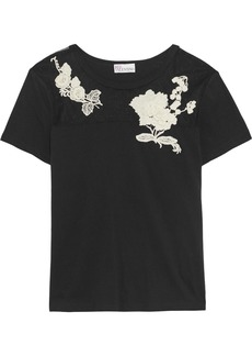 RED Valentino Redvalentino Woman Floral-appliquéd Point D'esprit-paneled Cotton-jersey T-shirt Black