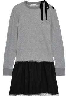 RED Valentino Redvalentino Woman Lace-up French Cotton-blend Terry And Point D'esprit Mini Dress Gray