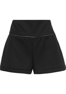 RED Valentino Redvalentino Woman Lattice-trimmed Cotton-blend Twill Shorts Black