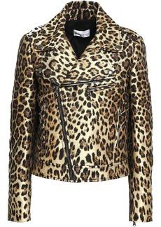 RED Valentino Redvalentino Woman Metallic Leopard-jacquard Biker Jacket Animal Print