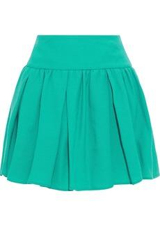 RED Valentino Redvalentino Woman Pleated Wool-crepe Mini Skirt Jade