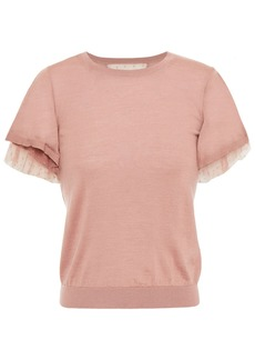 RED Valentino Redvalentino Woman Layered Cashmere And Silk-blend And Point D'esprit Top Antique Rose