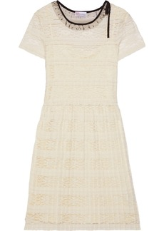 RED Valentino Redvalentino Woman Point D'esprit-trimmed Pleated Lace Dress Ecru