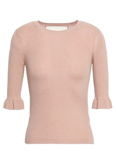 RED Valentino Redvalentino Woman Point D'esprit-trimmed Ribbed Cashmere And Silk-blend Top Blush