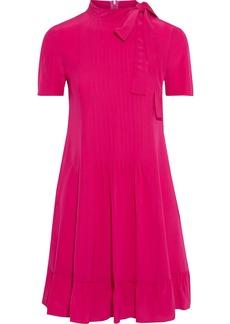 RED Valentino Redvalentino Woman Pussy-bow Pleated Silk Crepe De Chine Mini Dress Bright Pink