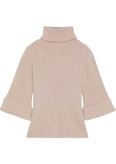RED Valentino Redvalentino Woman Ribbed Wool Turtleneck Sweater Blush