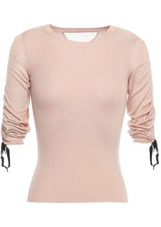 RED Valentino Redvalentino Woman Ruched Ribbed Cashmere And Silk-blend Top Blush