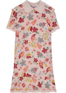 RED Valentino Redvalentino Woman Ruffle-trimmed Floral-print Silk Crepe De Chine Mini Dress Blush