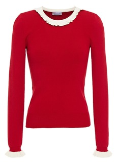 RED Valentino Redvalentino Woman Ruffle-trimmed Knitted Sweater Red