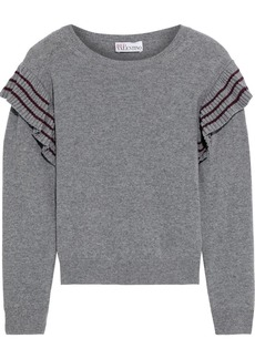 RED Valentino Redvalentino Woman Ruffle-trimmed Mélange Wool Sweater Gray