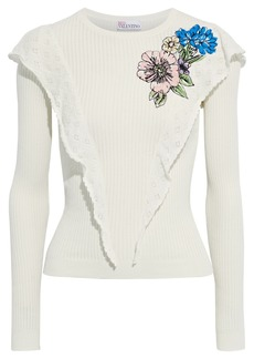 RED Valentino Redvalentino Woman Ruffled Embroidered Ribbed Cotton Sweater Ivory