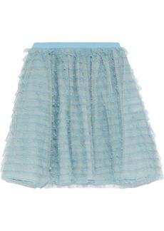 RED Valentino Redvalentino Woman Ruffled Point D'esprit Mini Skirt Sky Blue