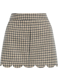 RED Valentino Redvalentino Woman Scalloped Checked Wool-blend Tweed Mini Skirt Sand