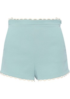 RED Valentino Redvalentino Woman Scalloped Crepe Shorts Turquoise