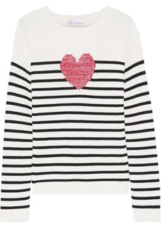 RED Valentino Redvalentino Woman Striped Intarsia Cotton Sweater Off-white