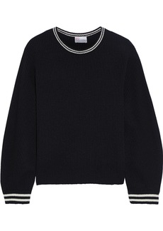 RED Valentino Redvalentino Woman Striped Ribbed Wool Sweater Black