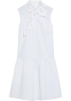 RED Valentino Redvalentino Woman Studded Bow-embellished Cotton-blend Poplin Mini Dress White