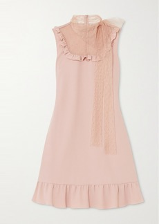 RED Valentino Ruffled Crepe And Point D'esprit Tulle Mini Dress