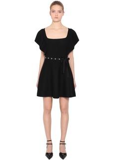 RED Valentino Ruffled Wool Rib Knit Dress W/ Belt