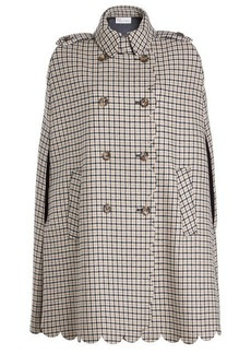 RED Valentino Scalloped Cape with Wool and Silk