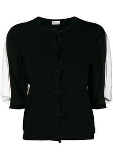 RED Valentino sheer shortsleeves bow blouse