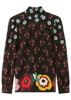 RED Valentino Silk Floral Print Blouse