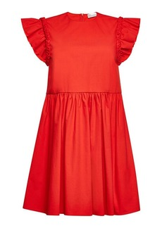 RED Valentino Stretch Cotton Dress with Braided Trim