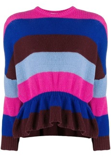 RED Valentino striped ruffled jumper