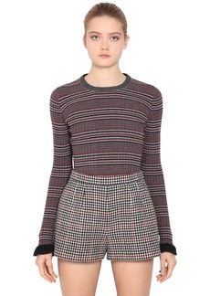 RED Valentino Striped Wool Sweater W/ Ruffled Cuffs