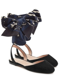 RED Valentino Suede Ballerinas with Printed Bows