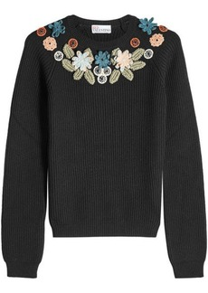 RED Valentino Virgin Wool Pullover with Crochet Appliqués