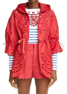 Women's Red Valentino Eyelet Embroidered Hooded Jacket