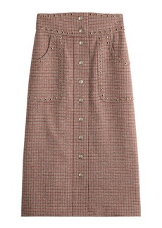 RED Valentino Wool Plaid Mid-Length Skirt with Eyelet Embellishment